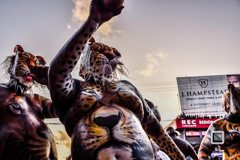 India - Kerala - Thrissur - Onam Festival - Pulikali-67