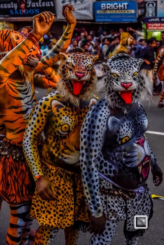India - Kerala - Thrissur - Onam Festival - Pulikali-74