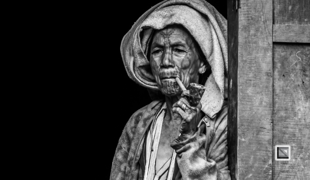 Myanmar Chin Tribe Portraits Black and White-2