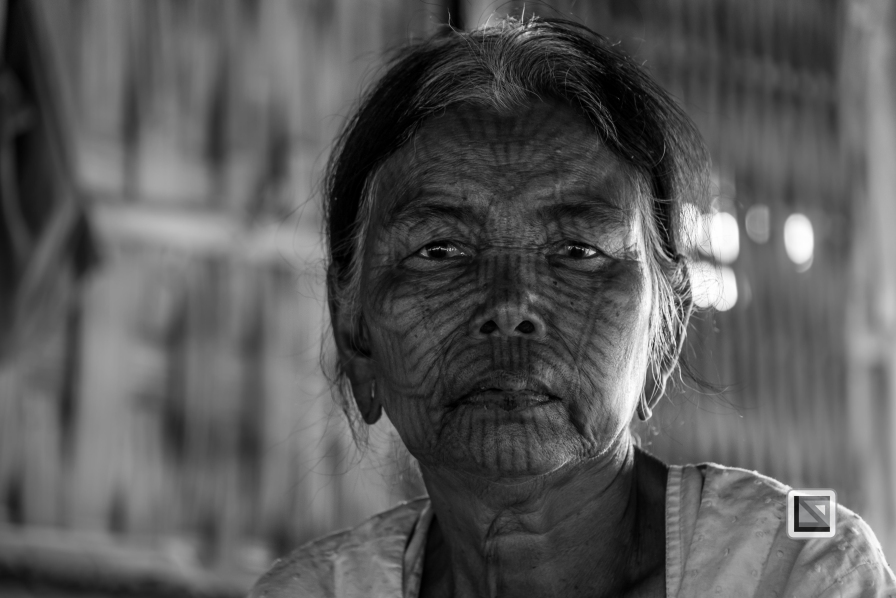 Myanmar Chin Tribe Portraits Black and White Mrauk-U-21