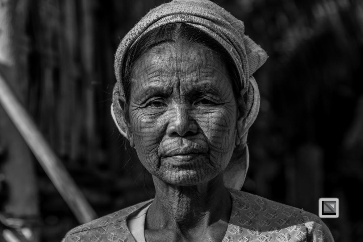 Myanmar Chin Tribe Portraits Black and White Mrauk-U-29