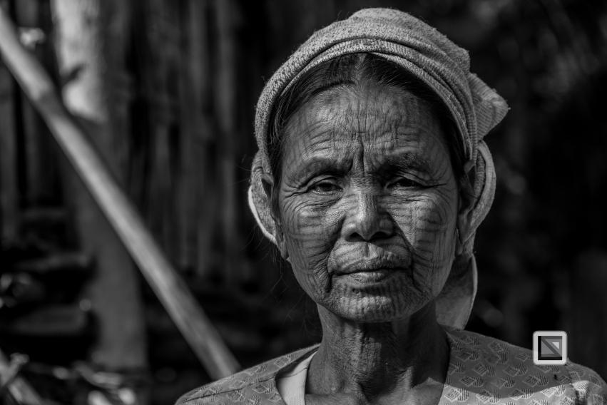 Myanmar Chin Tribe Portraits Black and White Mrauk-U-30