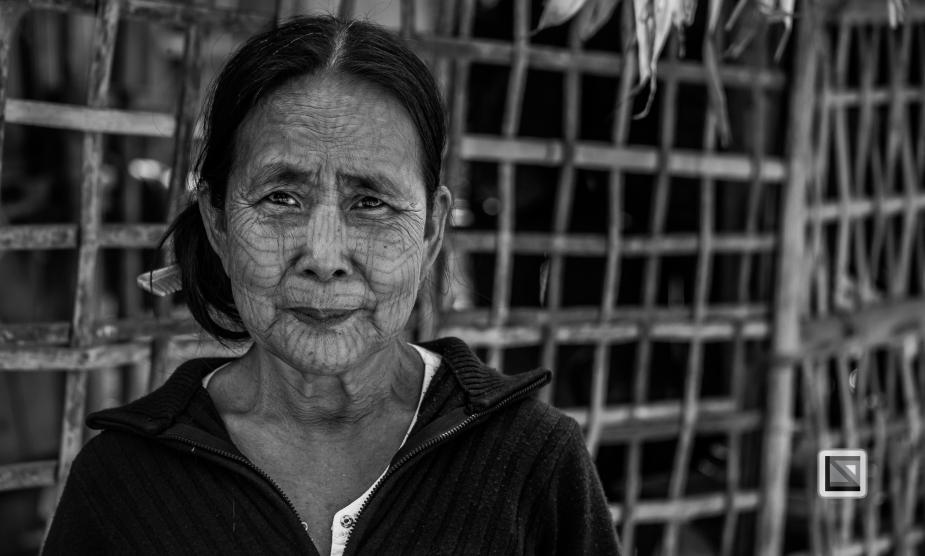 Myanmar Chin Tribe Portraits Black and White Mrauk-U-44