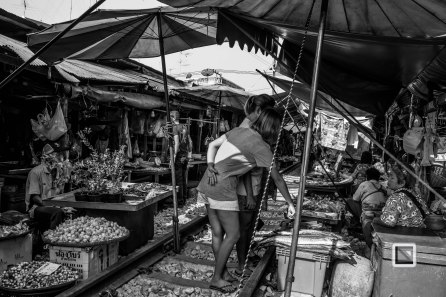 Maeklong Train Market Black and White-13