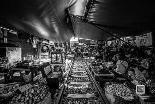 Maeklong Train Market Black and White-14
