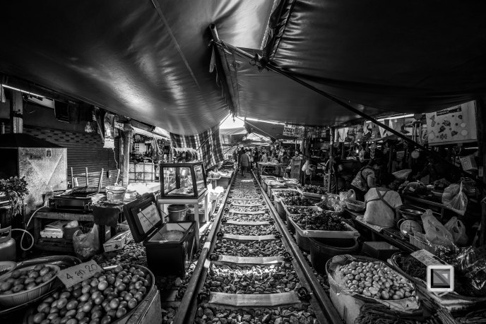 Maeklong Train Market Black and White-14