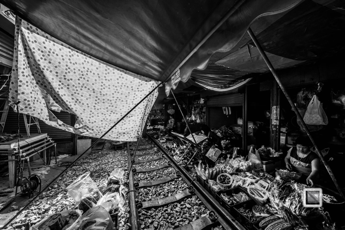 Maeklong Train Market Black and White-15