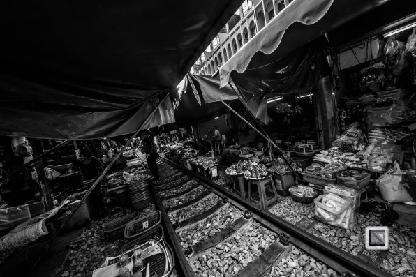 Maeklong Train Market Black and White-16