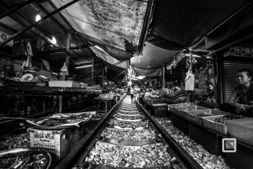 Maeklong Train Market Black and White-17