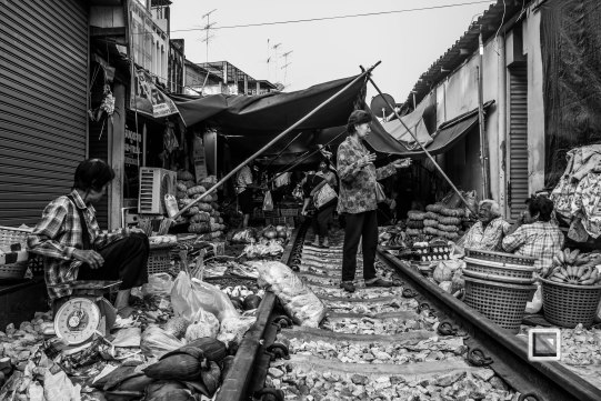 Maeklong Train Market Black and White-2