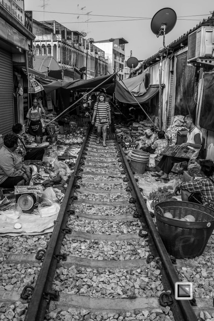 Maeklong Train Market Black and White-3