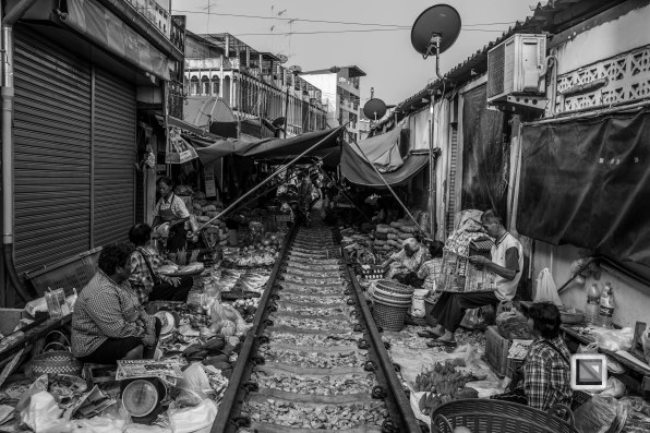Maeklong Train Market Black and White-4