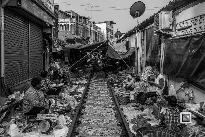 Maeklong Train Market Black and White-4