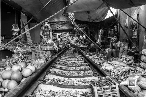 Maeklong Train Market Black and White-6