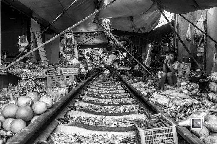 Maeklong Train Market Black and White-6