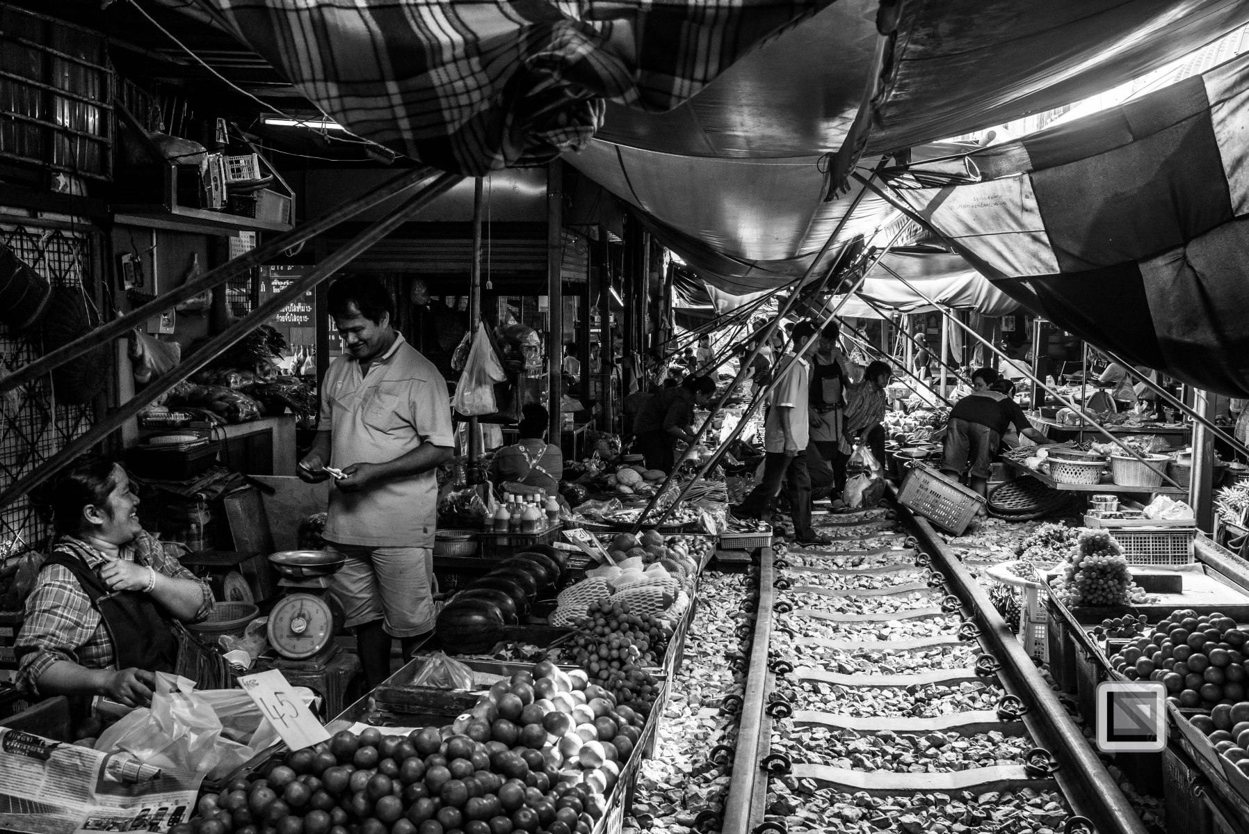Maeklong Train Market Black and White-7