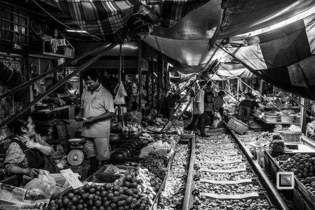 Maeklong Train Market Black and White-8