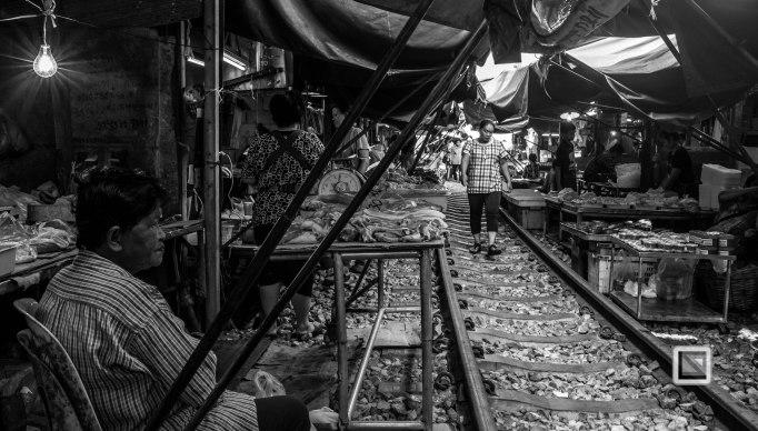 Maeklong Train Market Black and White-9