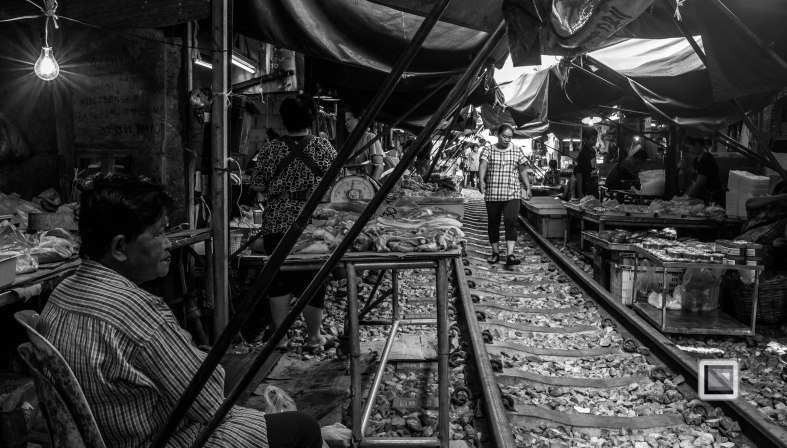 Maeklong Train Market Black and White-9