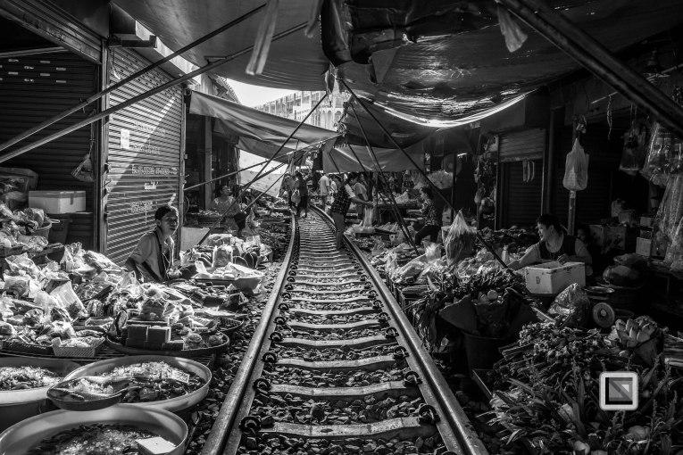 Maeklong Train Market Black and White
