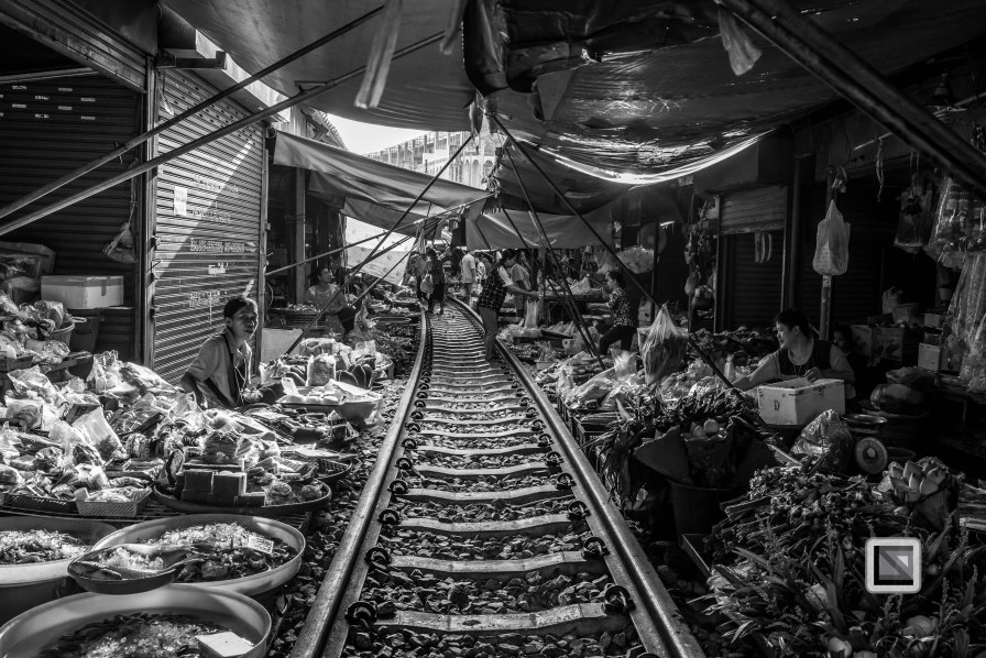 Maeklong Train Market Black and White